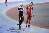 SCHAATSEN: SALT LAKE CITY: Utah Olympic Oval, 14-11-2013, Essent ISU World Cup, training, Jan Bos (trainer/coach KIA Speed Skating Academy), Artur Was (POL), ©foto Martin de Jong