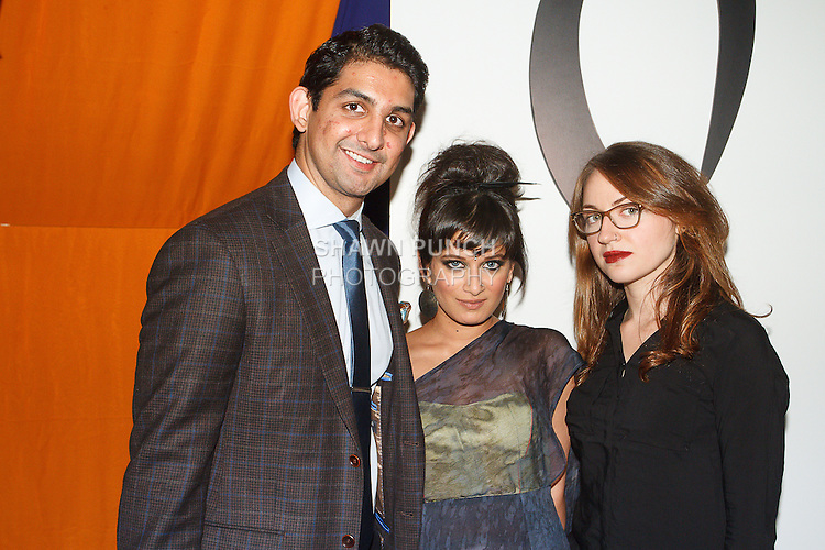 Fashion designer Sheena Trivedi (center) posing with assistant (right) and guest, moments before her Sheena Trivedi Spring Summer 2014 collection fashion show, at Hotel Chantelle on October 21, 2013.