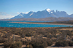 View of Lago Sarmiento Lake and Paine Massif Mountains of Torres del Paine National Park in Patagonia Chile