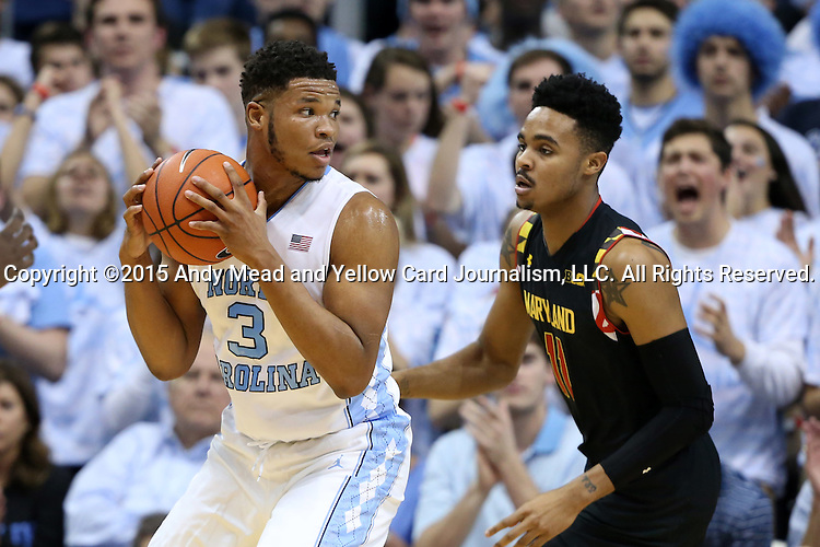 01 December 2015: North Carolina's Kennedy Meeks (3) and Maryland's Jared Nickens (11). The University of North Carolina Tar Heels hosted the University of Maryland Terrapins at the Dean E. Smith Center in Chapel Hill, North Carolina in a 2015-16 NCAA Division I Men's Basketball game. UNC won the game 89-81.
