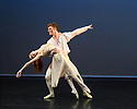"London, UK. 14.02.2019. Elmhurst Ballet Company present their inaugural performance, ""Origins"", in the Lilian Baylis Studio at Sadler's Wells Theatre. The piece shown is: Act I Balcony Pas de Deux from Romeo and Juliet, choreography by Sir Kenneth MacMillan.  The dancers are: Ellie Hennequin (Juliet), Ryan Felix (Romeo). Photograph © Jane Hobson."