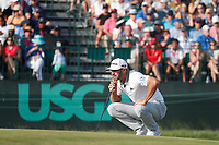 Dustin Johnson (USA) lines up a putt on the 17th hole during the 118th U.S. Open Championship at Shinnecock Hills Golf Club in Southampton, NY, USA. 17th June 2018.<br /> Picture: Golffile | Brian Spurlock<br /> <br /> <br /> All photo usage must carry mandatory copyright credit (&copy; Golffile | Brian Spurlock)