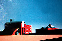 Los Angeles: Silkscreen of Museum of Contemporary Art, L. A. Arata Izosaki. Photo '88.