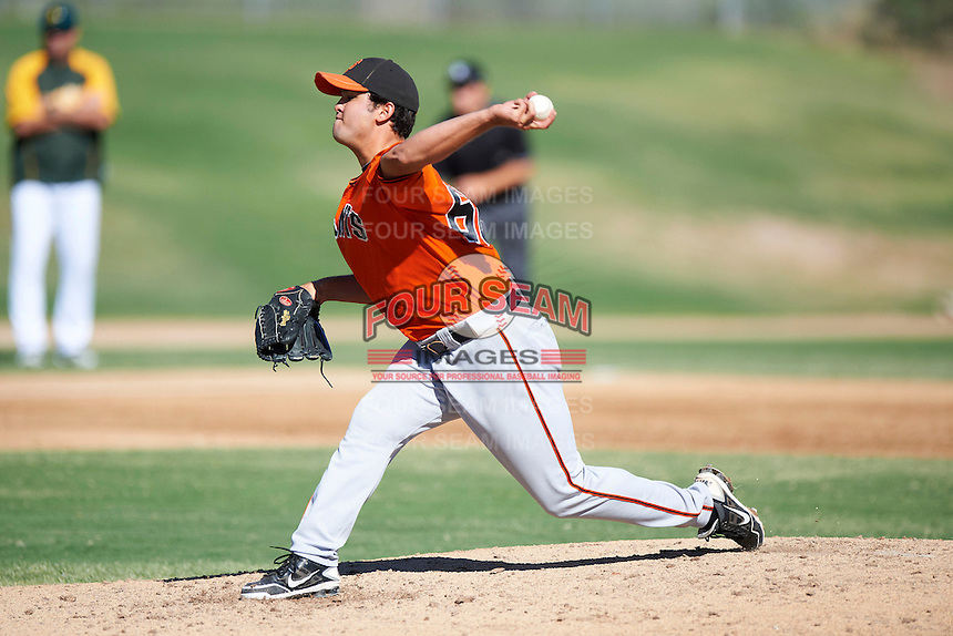 San Francisco Giants minor league pitcher Matt Lujan #66 during an instructional league game against the Oakland Athletics at the Papago Park Baseball Complex on October 17, 2012 in Phoenix, Arizona. (Mike Janes/Four Seam Images)