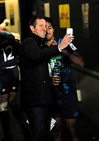 Former B&I Lions and England international player Will Greenwood poses for a selfie with Rieko Ioane after the 2017 DHL Lions Series rugby union match between the Blues and British & Irish Lions at Eden Park in Auckland, New Zealand on Wednesday, 7 June 2017. Photo: Dave Lintott / lintottphoto.co.nz