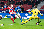Atletico de Madrid Kevin Gameiro and Lleida Esportiu Diego Rivas Rego during King's Cup match between Atletico de Madrid and Lleida Esportiu at Wanda Metropolitano in Madrid, Spain. January 09, 2018. (ALTERPHOTOS/Borja B.Hojas)