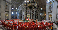 Dean of the College of Cardinals Angelo Sodano leads a  during a Mass for the election of a new pope, at the St Peter's basilica on March 12, 2013 at the Vatican. The 115 cardinal electors who pick the next leader of 1.2 billion Catholics in a conclave in the Sistine Chapel will live inside the Vatican walls completely cut off from the outside world until they have made their choice..
