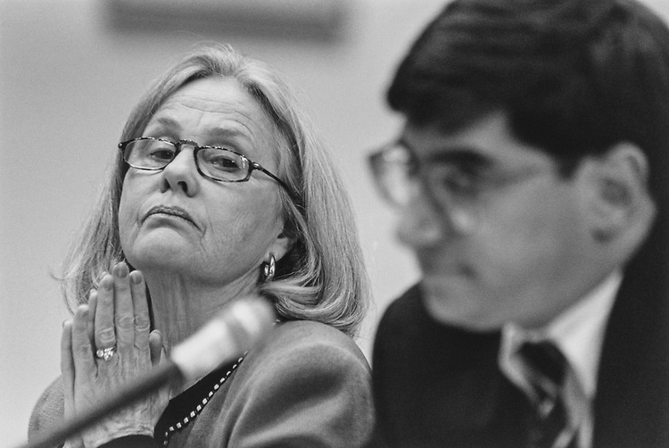 Ricky Silberman and Glenn Nagur of the Office of Compliance testify before the House Oversight Committee in March 1997. (Photo by Laura Patterson/CQ Roll Call via Getty Images)