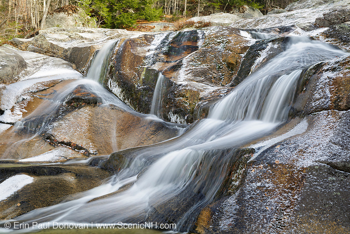 Step Falls along Wight Brook at Step Falls Nature Preserve in Newry, Maine USA during the autumn months. Acquired in 1962,  Step Falls was The Nature Conservancy's first preserve in Maine.