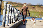 Pix: Shaun Flannery/shaunflanneryphotography.com...COPYRIGHT PICTURE>>SHAUN FLANNERY>01302-570814>>07778315553>>..26th January 2012……………..A female dog walker with her pedigree Orange Roan Cocker Spaniel dog.