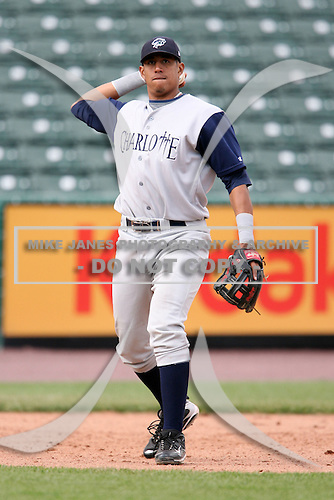 May 10, 2009:  Third Baseman Javier Castillo of the Charlotte Knights, Triple-A International League affiliate of the Chicago White Sox, in the field during a game at Frontier Field in Rochester, NY.  Photo by:  Mike Janes/Four Seam Images