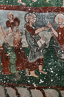 Fresco of Jesus with the fishermen, detail, in Pancarlik Kilise or Pancarlik Church, early 11th century, in the Pancarlik Valley, Nevsehir province, Cappadocia, Central Anatolia, Turkey. The churches are carved from the soft volcanic tuff created by ash from volcanic eruptions millions of years ago. Early christians came here to flee persecution by the Romans and others settled here under the influence of early saints. This area forms part of the Goreme National Park and the Rock Sites of Cappadocia UNESCO World Heritage Site. Picture by Manuel Cohen