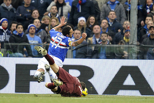 06 01 2011 Genova Series A Sampdoria versus  Roma Photo This foul lead to the red car ejection of Roma player  Julio Sergio