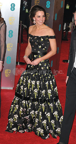 HRH Kate, Duchess of Cambridge at the EE British Academy Film Awards (BAFTAs) 2017, Royal Albert Hall, Kensington Gore, London, England, UK, on Sunday 12 February 2017.<br /> CAP/CAN<br /> &copy;CAN/Capital Pictures /MediaPunch ***NORTH AND SOUTH AMERICAS ONLY***