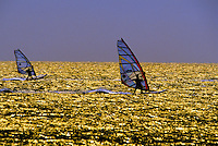 Windsurfing, Prasonisi Islet, south end of the island of Rhodes, Dodecanese, Greece