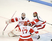 Kieran Millan (BU - 31), Matt Nieto (BU - 17), Max Nicastro (BU - 7) - The visiting Merrimack College Warriors tied the Boston University Terriers 1-1 on Friday, November 12, 2010, at Agganis Arena in Boston, Massachusetts.