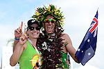 KAILUA-KONA, HI - OCTOBER 13:  Pete Jacobs of Australia celebrates with his wifeafter crossing the finish line to win the 2012 IRONMAN World Championships on October 13, 2012 in Kailua-Kona, Hawaii. (Photo by Donald Miralle)
