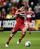 Chicago Fire midfielder John Thorrington (11) speeds toward the Real Salt Lake goal.  Real Salt Lake defeated the Chicago Fire in a penalty kick shootout 0-0 (5-4 PK) in the Eastern Conference Final at Toyota Park in Bridgeview, IL on November 14, 2009.