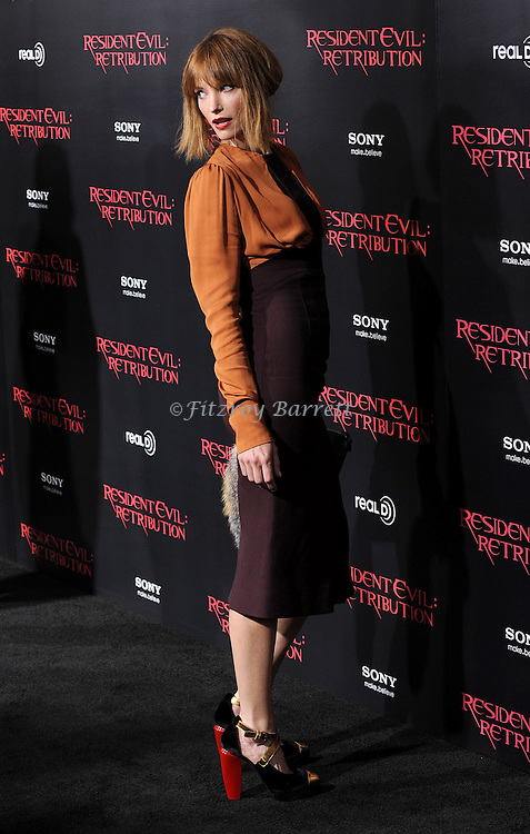 Sienna Guillory at the Los Angeles premiere of Resident Evil Retribution held at Regal Cinemas LA. LIVE, Los Angeles CA. September 12, 2012