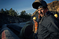 Ceyhan, Turkey, 09/12/2004..Construction work on the Ceyhan oil terminal, part of the plan to build a pipeline for oil exports from Azerbaijan through Georgia to Ceyhan in Turkey.....