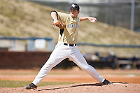 Starting pitcher Austin Stadler #9 of the Wake Forest Demon Deacons in action versus the Xavier Musketeers at Wake Forest Baseball Park March 7, 2010, in Winston-Salem, North Carolina.  Photo by Brian Westerholt / Four Seam Images
