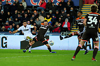 Courtney Baker-Richardson of Swansea City has a shot during the Sky Bet Championship match between Swansea City and Brentford at the Liberty Stadium in Swansea, Wales, UK. Tuesday 02 April 2019