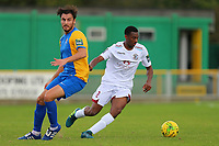 John Akoto of Hastings evades James Ishmail of Romford during Romford vs Hastings United, FA Trophy Football at Ship Lane on 8th October 2017