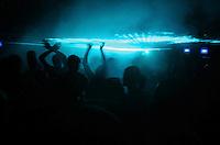 Funk ball in Rio de Janeiro, Brazil. Funk music festival, young people dancing.
