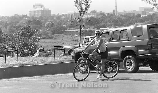 Frieda Mansfield riding a bike.<br />