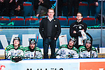 Stockholm 2014-03-27 Ishockey Kvalserien Djurg&aring;rdens IF - R&ouml;gle BK :  <br /> R&ouml;gles tr&auml;nare Magnus Bogren ser fundersam ut bakom R&ouml;gles Simon Olsson , R&ouml;gles Mathias Tj&auml;rnqvist , R&ouml;gles Daniel Sylwander och R&ouml;gles Erik Thorell <br /> (Foto: Kenta J&ouml;nsson) Nyckelord:  DIF Djurg&aring;rden R&ouml;gle RBK Hovet fundersam fundera t&auml;nka analysera depp besviken besvikelse sorg ledsen deppig nedst&auml;md uppgiven sad disappointment disappointed dejected