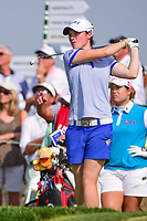 Leona Maguire (a)(IRL) watches her tee shot on 16 during Thursday's first round of the 72nd U.S. Women's Open Championship, at Trump National Golf Club, Bedminster, New Jersey. 7/13/2017.<br /> Picture: Golffile | Ken Murray<br /> <br /> <br /> All photo usage must carry mandatory copyright credit (&copy; Golffile | Ken Murray)