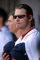 Outfielder Josh Reddick #24 of the Pawtucket Red Sox prior to a game versus the Toledo Mud Hens on May 3, 2011 at McCoy Stadium in Pawtucket, Rhode Island. Photo by Ken Babbitt /Four Seam Images