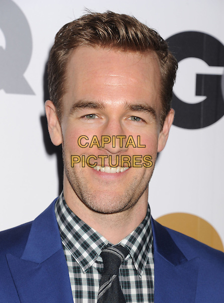 James Van Der Beek.Arriving at the GQ Men Of The Year Party at Chateau Marmont Hotel in Los Angeles, California, USA..November 13th, 2012.headshot portrait black white check shirt blue tie stubble facial hair .CAP/ROT/TM.©Tony Michaels/Roth Stock/Capital Pictures