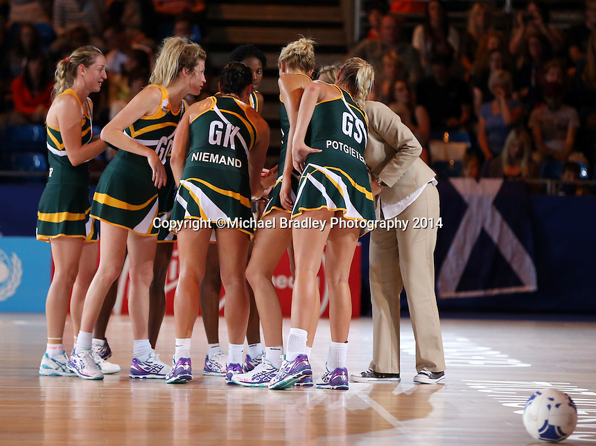 29.07.2014 South Africa's in action during the South v Wales netball match at the Commonwealth Games Glasgow Scotland on the 29th of July 2014. Mandatory Photo Credit ©Michael Bradley.