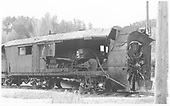 3/4 view of destroyed RGS rotary #2 in transit to Ridgway at Placerville.<br /> RGS  Placerville, CO  Taken by Maxwell, John W. - 5/26/1949