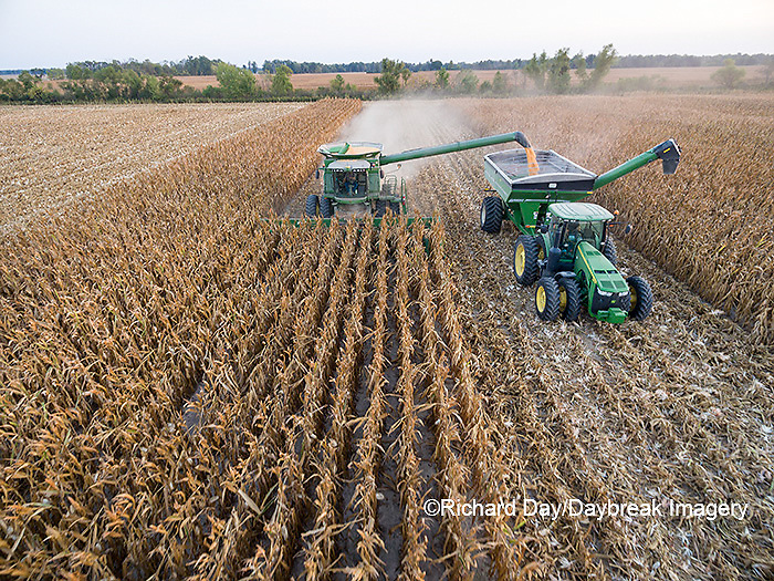 63801-08217 Corn Harvest, John Deere combine unloading corn into grain cart while harvesting - aerial Marion Co. IL