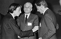 - from left Luca di Montezemolo and Gianluigi Gabetti, (managers of the FIAT group) with Umberto Agnelli ....- da sinistra Luca di Montezemolo e Gianluigi Gabetti, (managers del gruppo FIAT) con Umberto Agnelli