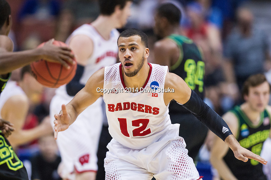 Wisconsin Badgers guard Traevon Jackson (12) plays defense during the fourth-round game in the NCAA college basketball tournament against the Baylor Bears Thursday, March 27, 2014 in Anaheim, California. The Badgers won 69-52. (Photo by David Stluka)