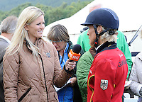 Blair Atholl, Scotland, UK. 11th September, 2015. Longines  FEI European Eventing Championships 2015, Blair Castle. Interviewing Ingrid Klimke (GER)  © Julie Priestley
