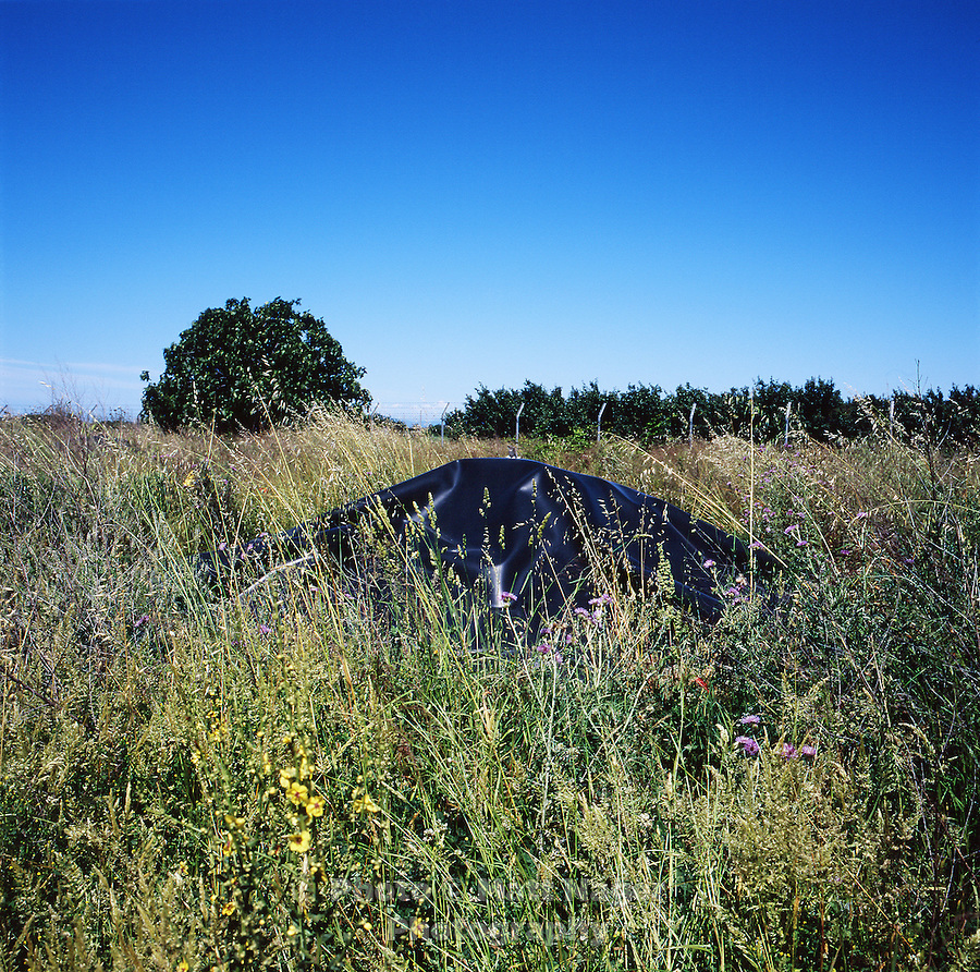 "A black tarp covers a pile of toxic waste to prevent the spread of chemicals in an abandoned farm recently used as an illegal dumping ground in Calbricito near Acerra, Italy. This waste will unlikely be removed or treated to lessen toxicity levels as the area has been deemed ""secured"" by government officials. Surrounding farms have seen a drop in production quality of produce...PHOTOS/ MATT NAGER"
