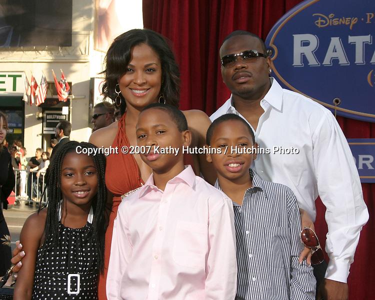 "Laila Ali & fiance, his kids.""Ratatoille"" World Premiere.Kodak Theater.Los Angeles, CA.June 22, 2007.©2007 Kathy Hutchins / Hutchins Photo...."