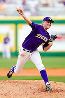 Relief pitcher Jimmy Dykstra #17 of the LSU Tigers in action against the Wake Forest Demon Deacons at Alex Box Stadium on February 20, 2011 in Baton Rouge, Louisiana.  The Tigers defeated the Demon Deacons 9-1.  Photo by Brian Westerholt / Four Seam Images