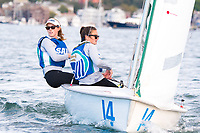 Skipper Jen Killian,'19, and Crew Madeline Lark '20 , head to a marker as the Salve Regina Sailing Team practices in the Newport Harbor.