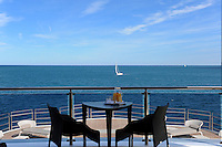 Guests can enjoy the view from the seating area on the aft deck