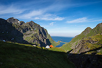 Mountain camp over hidden valley, Moskenesøy, Lofoten Islands, Norway