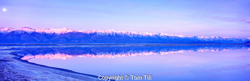 High Peaks of the Sierra Nevada Range from Lone Pine to Bishop, Reflected in Owens Lake at Moonset, California