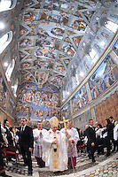 Mass at the Sistine Chapel at The Vatican. Benedict XVI during the Baptism of the Lord. Jan 9, 2011