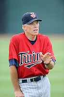 Manager Ray Smith (2) of the Elizabethton Twins before a game against the Johnson City Cardinals on Sunday, July 27, 2014, at Howard Johnson Field at Cardinal Park in Johnson City, Tennessee. The game was suspended due to weather in the fifth inning. (Tom Priddy/Four Seam Images)