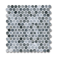 2cm Pennyrounds shown in polished Greystoke is part of New Ravenna's Studio Line of ready to ship mosaics.