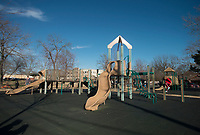 NWA Democrat-Gazette/BEN GOFF @NWABENGOFF<br /> A view of the playground Thursday, Dec. 21, 2017, at Dave Peel Park in downtown Bentonville. Funding from a Walton Family Foundation Design Excellence Program grant is slated to be used for a redesign of the popular park near the downtown square.